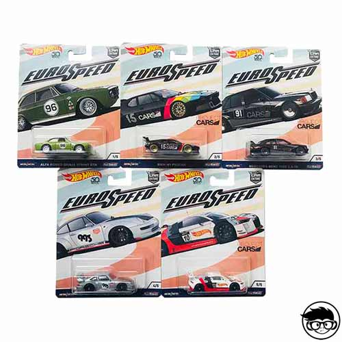 Hot Wheels Euro Speed 5 Car Set 2017 long card