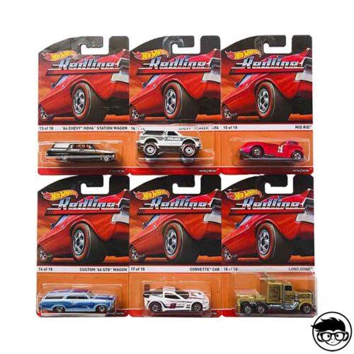 Hot Wheels Redline 6 Car Set 2015 long card